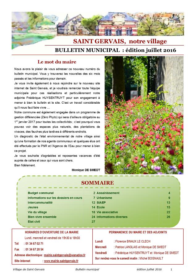 Bulletin municipal juillet 2016