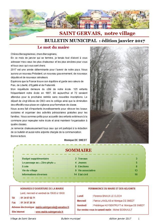 Bulletin municipal Janvier 2017